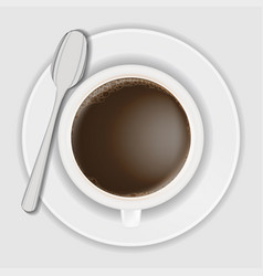 top view coffee cup on dish with spoon vector image