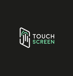 touch screen palm finger logotype line vector image