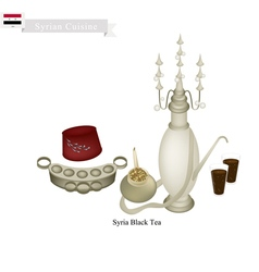 Traditional Black Hot Tea Popular Dink in Syria vector image