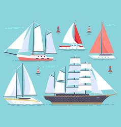 transportation sailboats yacht sailing cruise vector image