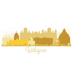 Udaipur india city skyline golden silhouette vector