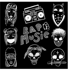 Urban street hip hop music girl boy skull rapper vector