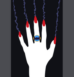 Vampire hand with red claws flat art vector