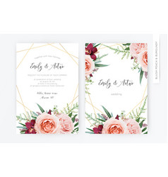 watercolor wedding floral invite invitation card vector image