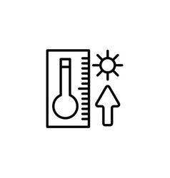 web icon thermometer with high temperature black vector image