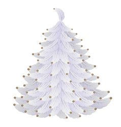 White christmas tree made of feathers and beads vector