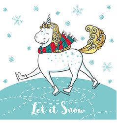 winter card with cute unicorn on skates vector image