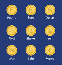 world currency symbol coins set collection vector image