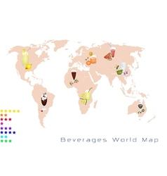 World Map of Fruits Drink and Sweet Beverage vector image