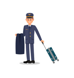 young pilot holding jacket and suitcase captain vector image