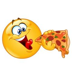 Emoticon eating pizza vector