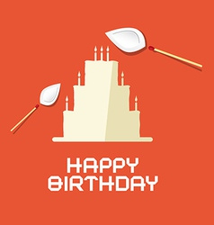 Happy Birthday Flat Design Paper Cake with Burning vector image