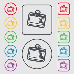 Id card icon sign symbol on the Round and square vector image