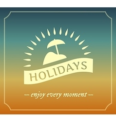 Retro summer holidays logo with frame vector image vector image