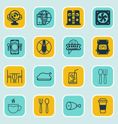 set of 16 cafe icons includes dining tea lemon vector image