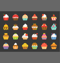 set of cupcake in various style flat design icon vector image