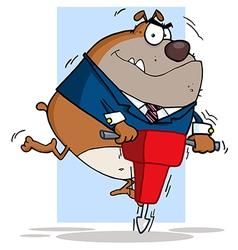 Tan Bulldog Using A Jackhammer vector image vector image