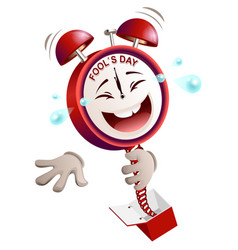 fools day time clock hours service laughs vector image vector image
