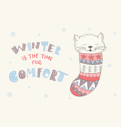 winter postcard with quote and phrase vector image vector image
