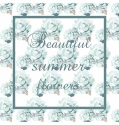 Blue Rose Flowers Pattern vector image