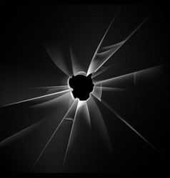 broken glass window with bullet hole on background vector image