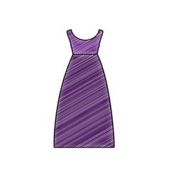 color pencil drawing of purple dress eighties vector image