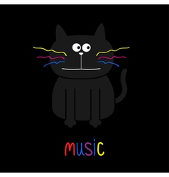 Cute black cat with colorful moustaches Music card vector image vector image