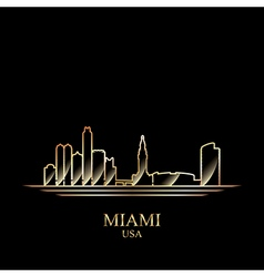 Gold silhouette of Miami on black background vector image