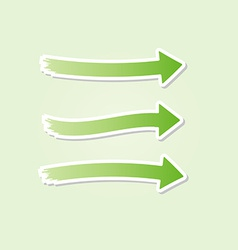 three different green arrows vector image vector image