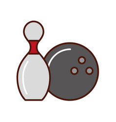 Bowling pin and ball cartoon vector