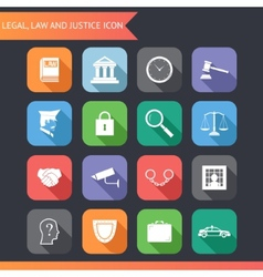 Flat Law Legal Justice Icons and Symbols vector image vector image
