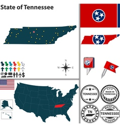Map of Tennessee vector image vector image