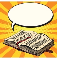 Old book and comic bubble vector image