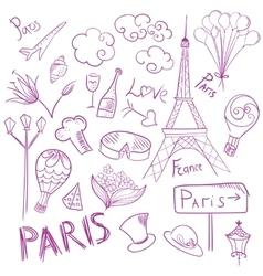 Paris Sketch Symbols Set vector image vector image