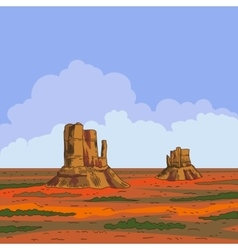 Prairie landscape with blue sky and clouds vector image vector image