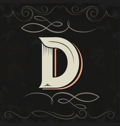 retro style western letter design letter d vector image vector image