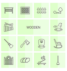 14 wooden icons vector