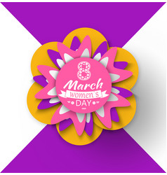 8 march womens day paper cut flower greeting card vector