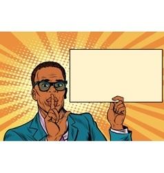African businessman asking for silence Billboard vector