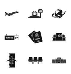 Airport check-in icons set simple style vector