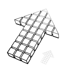 Arrow icon made of drawing cubes vector
