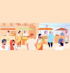 Asian street market asia girl woman shopping vector