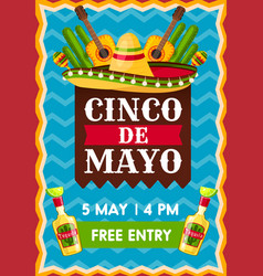 banner for cinco de mayo party vector image