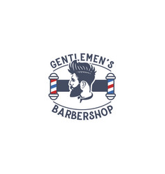 barber shop concept logo design template vector image