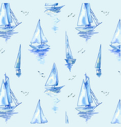 blue sailboats pattern with boats in watercolor vector image