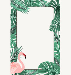 Border frame green tropical leaves pink flamingo vector