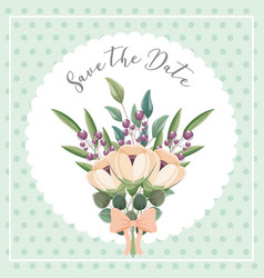 bouquet flowers leaves nature decoration wedding vector image