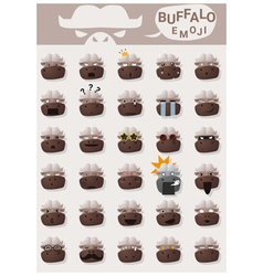 Buffalo emoji icons vector image