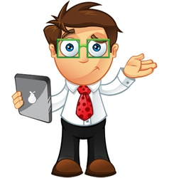 Business Man Unsure With Tablet vector image