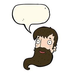 Cartoon bearded man with speech bubble vector